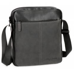 Bandolera Pepe Jeans 27x23x7 cm de Piel sintetica Cranford Negro Porta Tablet