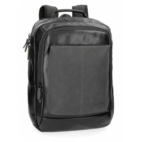 """Mochila para portátil Pepe Jeans 47x31x11 cm de piel sintética Cranford negra 15,6"""" doble compartimento"""