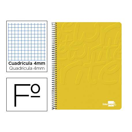 Cuaderno Espiral Liderpapel Write Tamaño Folio Cuadrícula 4mm Color Amarillo