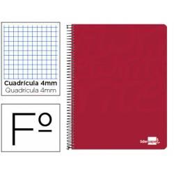 Cuaderno Espiral Liderpapel Write Tamaño Folio Cuadrícula 4 mm de Color Rojo