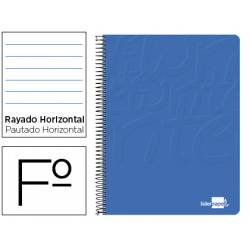 Cuaderno Espiral Liderpapel Write Tamaño Folio Rayado Horizontal de Color Azul