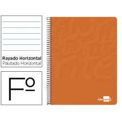 Cuaderno Espiral Liderpapel Write Tamaño Folio Rayado Horizontal Color Naranja